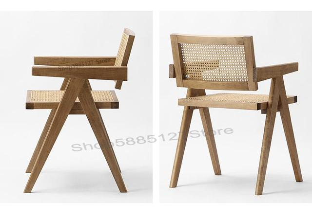 Solid Wood Dining Chair Rattan Nordic Chair  6