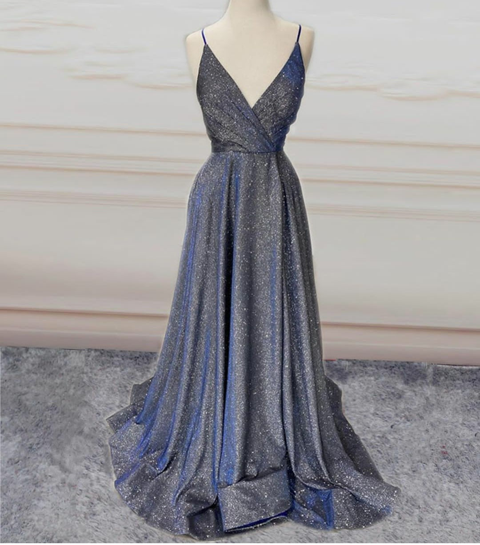Long V-Neck Glitter Purple Prom Dresses with Pockets A-Line Sweep Train Criss Cross Back Abendkleid Robes de Soirée for Women