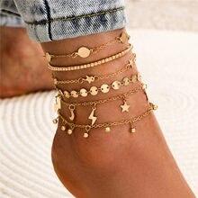 Ensemble de Bracelets de cheville multicouches, style bohémien, perles, paillettes, étoile, à la mode, bijoux de plage, été, Bracelets pour femme