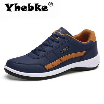 Yhebke moda mężczyźni trampki dla mężczyzn obuwie oddychające zasznurować męskie obuwie codzienne wiosna skórzane buty mężczyźni chaussure homme tanie i dobre opinie Skóra Split RUBBER 191188001-2406005-154d Lace-up Pasuje prawda na wymiar weź swój normalny rozmiar Podstawowe Stałe