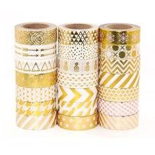 Купить с кэшбэком High qulity Gold foil 10m paper tape dot,strip,pineapple,heart charistmas decorative washi tape 1pcs
