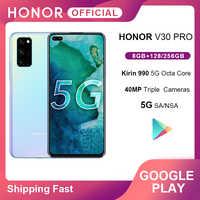 Ehre V30 Pro Smartphone Google Spielen Kirin990 5G 7nm Octa core 128GB 256GB 16Core GPU 40mp triple Cam 40W Aufzurüsten Android10