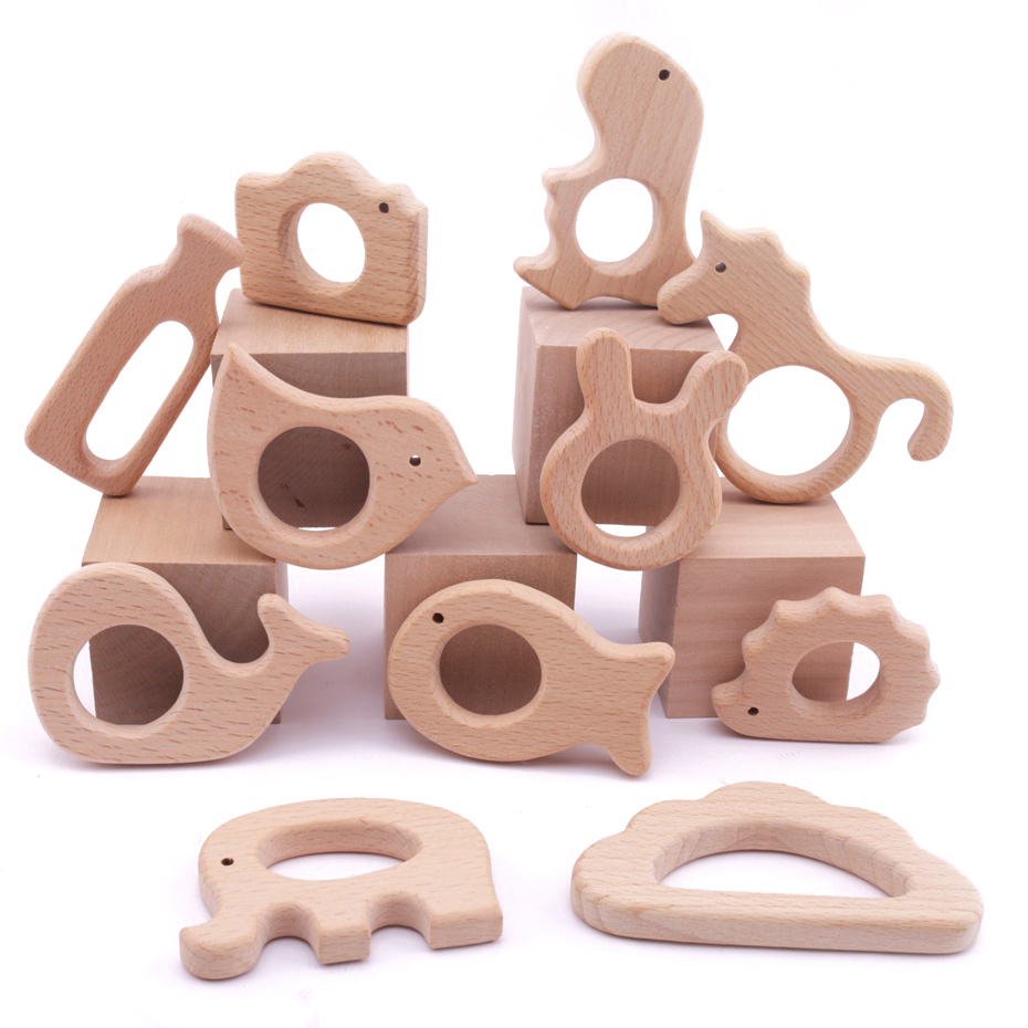1pc Baby Wooden Teether Animal Teeth Bracelet Pendant For Pacifier Chain Bpa Free Beech Wooden Rodent Baby Gym Mobile Rattle Toy