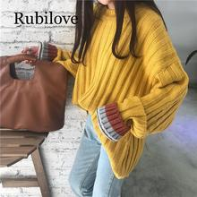 Rubilove Loose Knit Sweater For Women Coarse Wool Knitting Jumper Solid Autumn Winter Knitwear Casual Female Oversized Sweaters