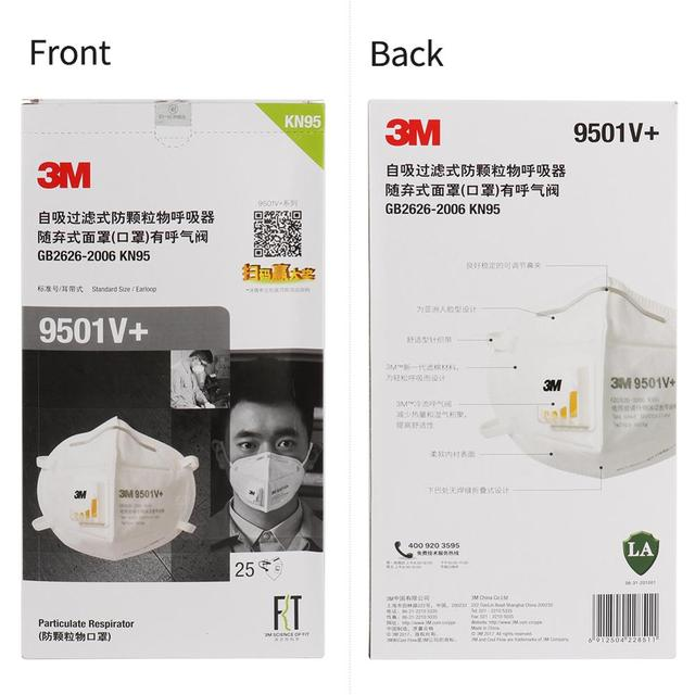 3M 9501V+ Masks 1-50pcs PM2.5 KN95 9501V+ Updated Particulate Respirator Dust Mask with Cool Flow Valve Breathable Mask N95 6