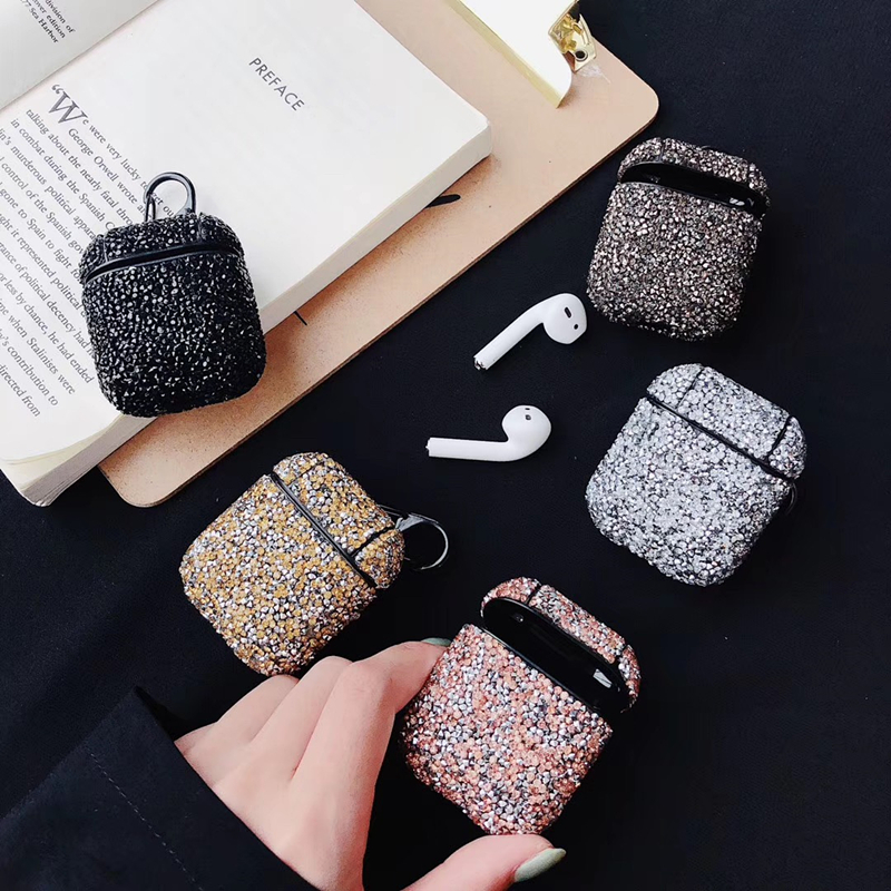 For AirPods 1 2 Earphone <font><b>Case</b></font> Cute Sexy Glitter Sequins Bling Hard Protection Wireless Earphone Charging <font><b>Bluetooth</b></font> <font><b>Headset</b></font> Cover image