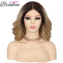 Brinbea-pelo sintético de 14 pulgadas para mujer, cabello de bebé Natural rizado de onda corta para mujer, División media, suave suizo, encaje frontal