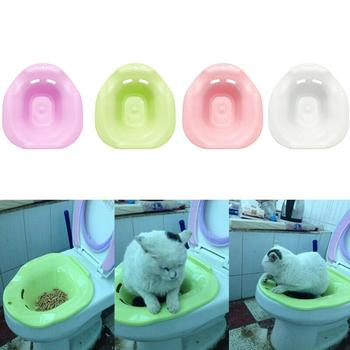 1PC Plastic Cat Toilet Training Kit Cleaning System Pets Potty Urinal Litter Tray Training Toilet Tray Pet Supplies Solid Color