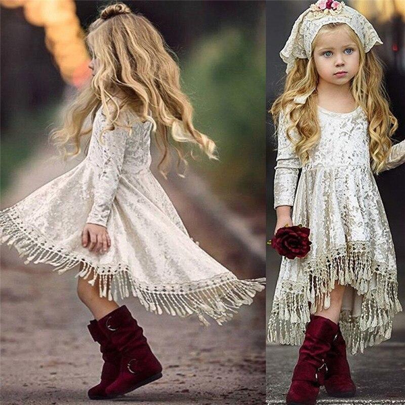 Flower     Girl     Dress   Velvet Tassel Long Sleeve Princess Baby Party Pageant   Dress