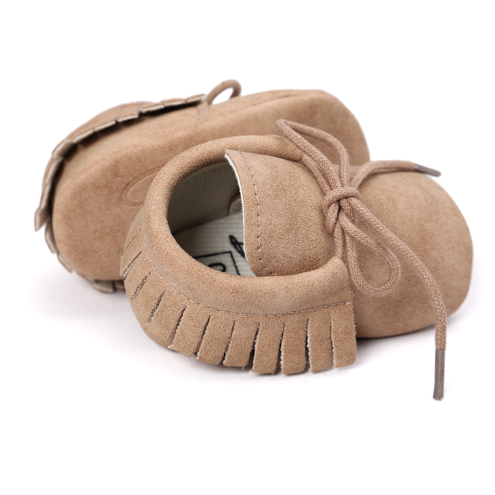 Baby Shoes Newborn Infant Boy Girl Classical Lace-up Tassels Suede Sofe Anti-slip Toddler Crib Crawl Shoes Moccasins 10-colors 2
