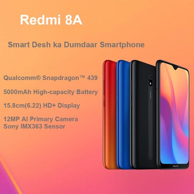 Global Rom Xiaomi Redmi 8A 8 A 3GB 32GB Snapdargon 439 Octa core 6.22 Full Screen Mobile Phone 5000mAh 12MP AI Camera Smartphone