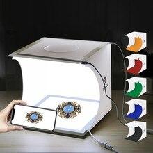 24x23x22cm mini dobrável lightbox fotografia photo studio softbox iluminação led shadowless luz painéis com 6 cores backdrops