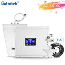Wzmacniacz sygnału trójpasmowego Lintratek 900 1800 2100Mhz wzmacniacz GSM 3G 4G wzmacniacz LTE wzmacniacz telefonu komórkowego 2G 3G 4G 65dB GDW #3.9