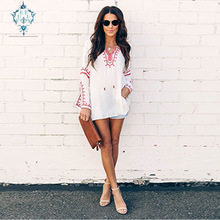 CUERLY summer super mini dress women embroidery print party dresses 2019 solid round neck  chic full split sleeve street vestido