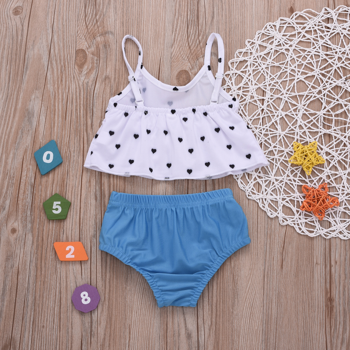 Girls Summer New Style 0-5-Year-Old Cool Solid Color Camisole Tube Top Polka Dot Heart Women's Young Children Bathing Suit