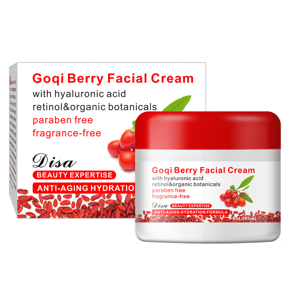 Shipping Goji Facial Cream With Hyaluronic Acid Paraben Free Fragrance Free Face Cream Anti-aging Anti Wrinkle Remove Spots 100g