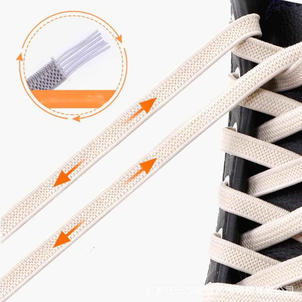 1 par Unisex de Color sólido sin corbata zapatos perezosos de goma elástica de alta calidad cordón para zapatillas de deporte para niños zapatos elásticos seguros