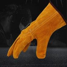 Heavy Duty Schweißen Schutz Handschuhe 1 Paar Schweißer Leder Rindsleder Handschuhe Gelb Mig Schweißen Löten Handschuhe Stulpen