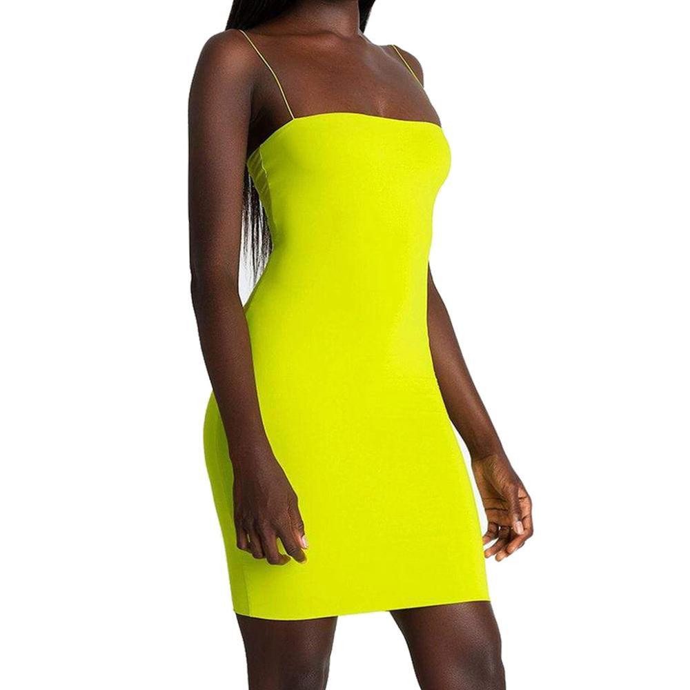 Новинка, горячее предложение, женские летние одноцветные Сексуальные облегающие Мини платья, вечернее платье без рукавов, Клубная одежда, облегающее платье - Цвет: Fluorescent Yellow