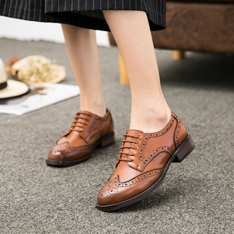 Women spring leather Oxford Shoes Round Toe Flats Derby Ankle Boots shoes