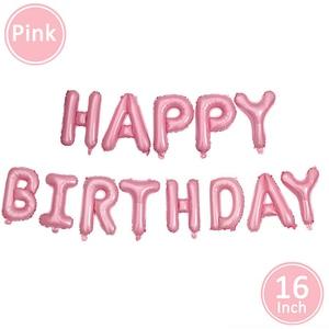 Image 4 - First Happy Birthday Pink Balloon Banner Party Decoration Star Garland Baby Kids Boy Girl My 1st One 1 Year Supplies Confetti