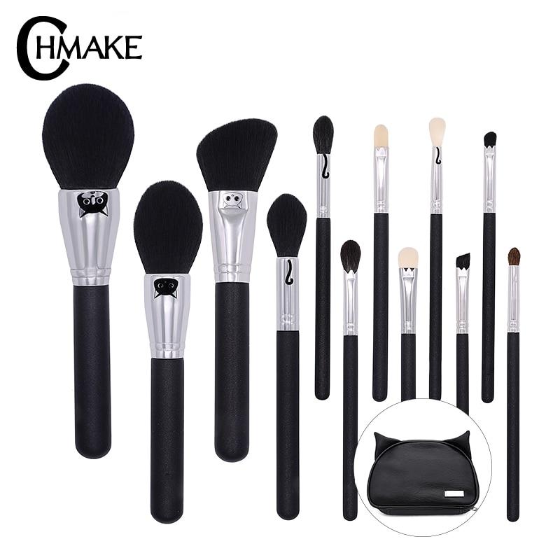 CHMAKE 12pieces Makeup Brushes Kabuki Cosmetic Blending Highlighter Contour Brush Holder Synthetic Kolinsky Goat hair
