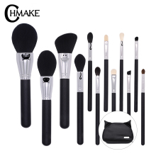 CHMAKE 12pieces Makeup Brushes Kabuki Cosmetic Blending Highlighter Contour Brush Holder Synthetic Kolinsky Goat hair