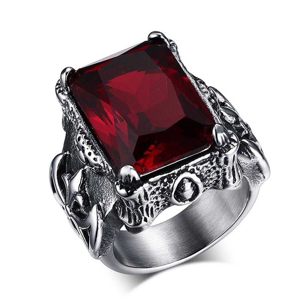 Gothic vintage ruby gemstones red zircon diamonds rings for men titanium stainless steel jewelry bijoux bague punk fashion gifts