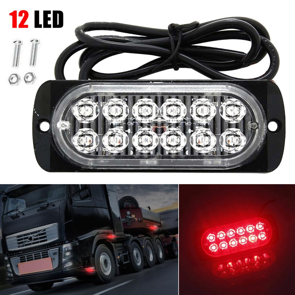 12V 24V 12 LED Strobe Lights Ultra-thin Car Lights Assembly 36W LED Police Lights Car Truck Emergency Side Strobe Warning Light