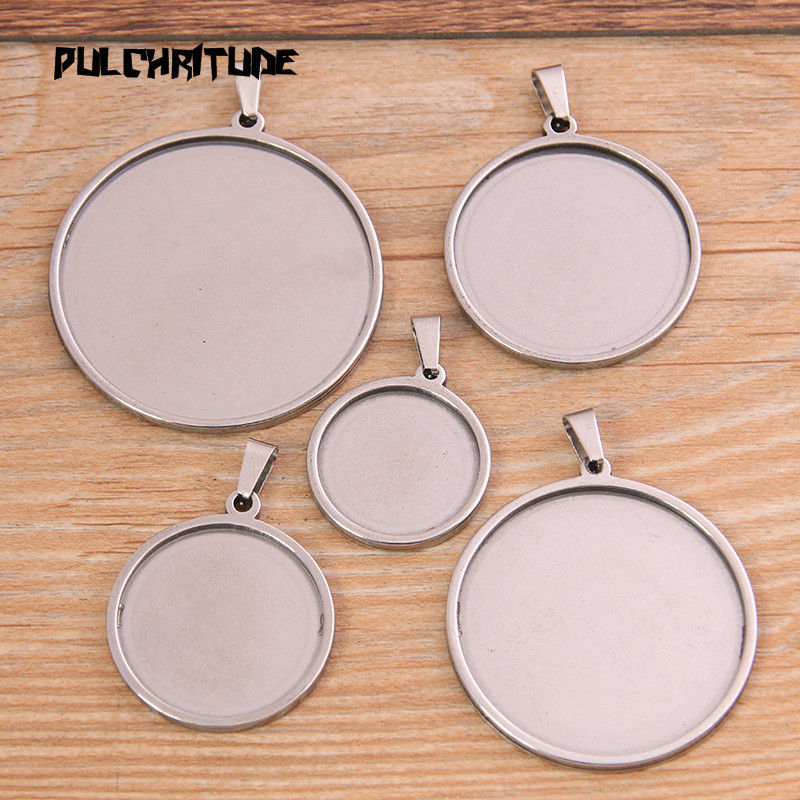 PULCHRITUDE 2pcs 20-40mm Inner Size Stainless Steel Round Cabochon Base Setting Diy Blank Pendant Tray For Necklace Making