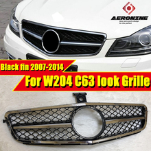 For MercedesMB W204 C63 look Electroplate Black fin Grille ABS Sport C-class C180 C200 C250 C300 Without Sign Look Grills 07-14