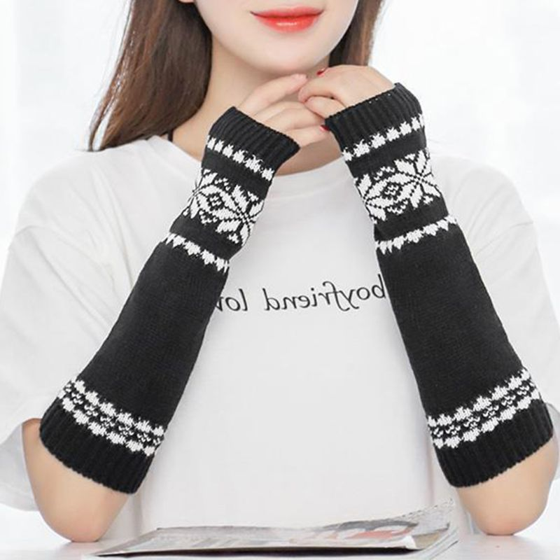 Women Men Unisex Snowflake Pattern Jacquard Fingerless Gloves Winter Crochet Knit Arm Warmers Mittens With Thumbhole Gift