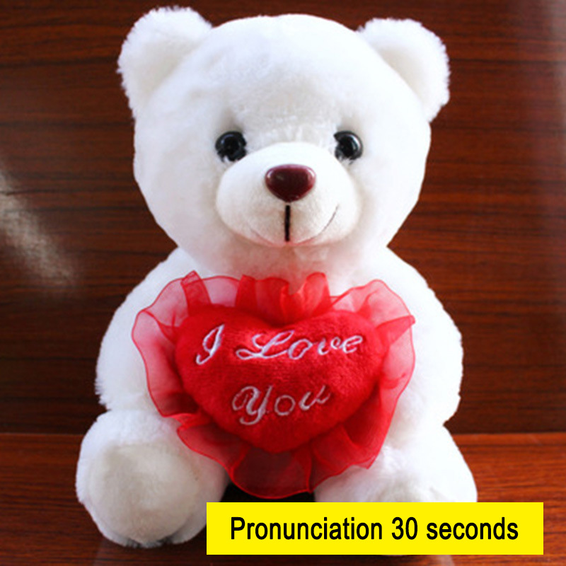 22CM 12Seconds Sound Recording Colorful Luminous Glowing Plush Baby Toy LED Lighting Stuffed Bear HUG-Deals image