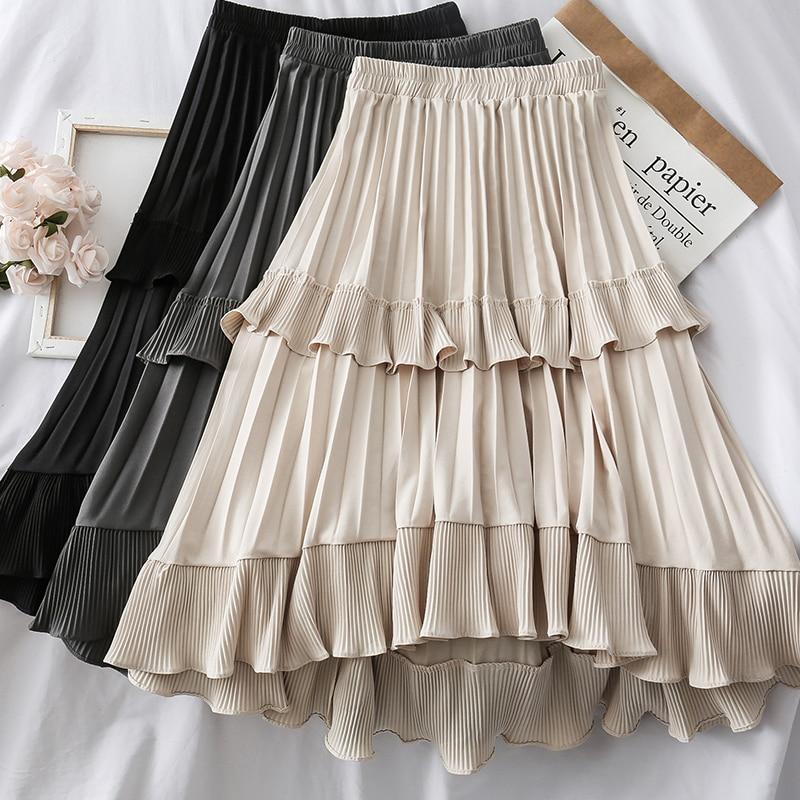 Lotus Cake Skirt Women Casual High Waist Elastic A-line Long Skirt Sweet Fashion Maxi Saias Bottoms