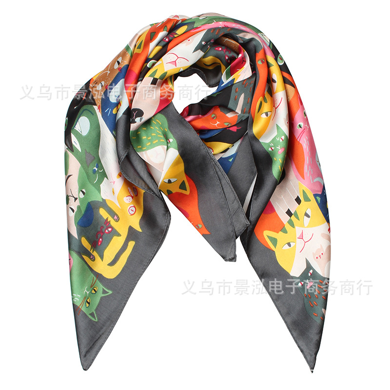 70x70 Cat Head Small Square Towel Silk Scarves Scarf Scarf