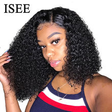 ISEE HAIR Curly Lace Front Wigs For Women Kinky Curly Lace Frontal Wig 4X4 Lace Closure Bob Wig Brazilian Curly Human Hair Wigs(China)