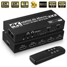 2021 3x2 Matrix Switch Splitter con SPDIF e L/R 3.5mm HDR Switch compatibile HDMI 4x2 supporto HDCP 2.2 ARC 3D 4K @ 60Hz per PS5