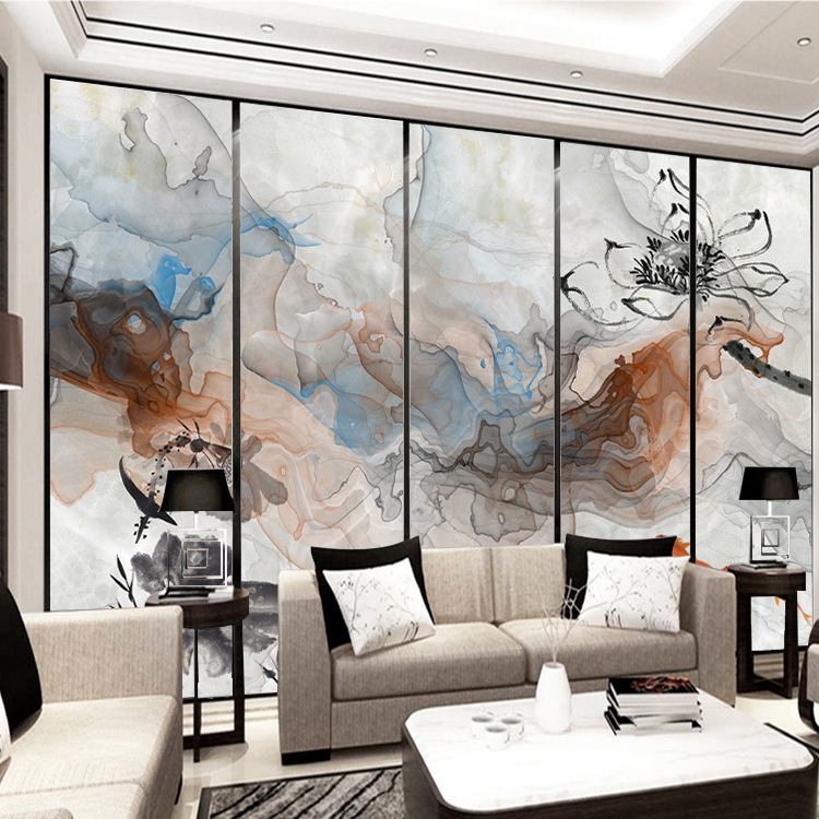 New Chinese Style Abstract Artistic Conception Ink Landscape Painting Wall Mural Living Room Horizontal TV Backdrop Mural Wallpa