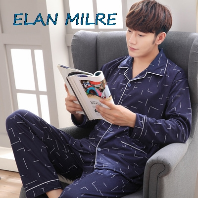 2020 Autumn And Winter Long-Sleeved Cotton Autumn Men'S Pajamas Cotton-Style Thin Section Home Service Suit