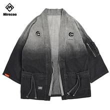 Mirecoo Men Denim kimono Jacket Gradient Open Stitch Windbreaker High Street Hip Hop Coat New Clothing Autumn