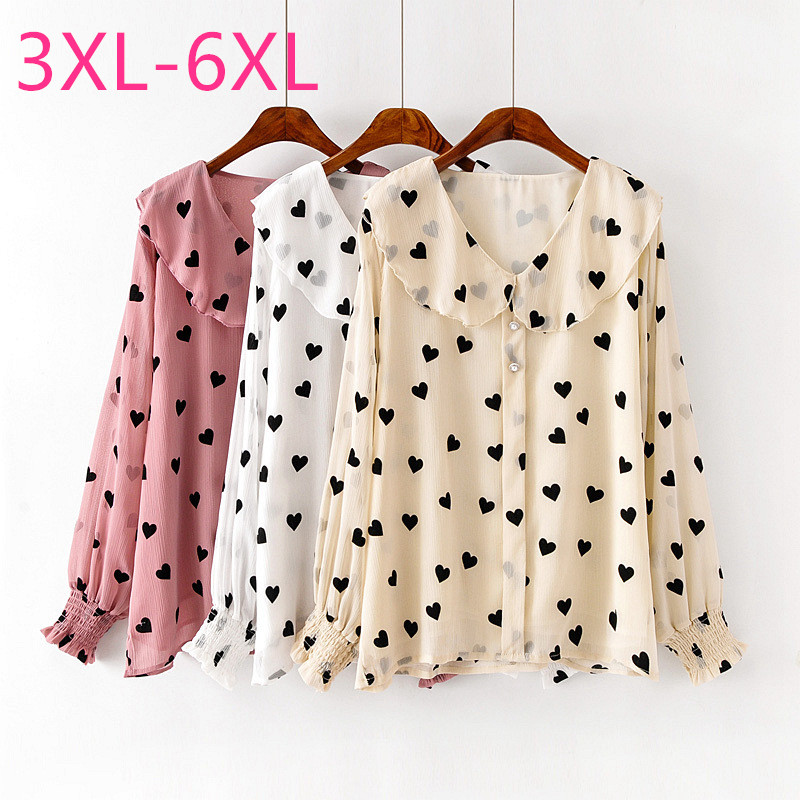 2020 spring autumn plus size tops for women large blouse loose casual long sleeve floral cut V neck shirt white pink 4XL 5XL 6XL