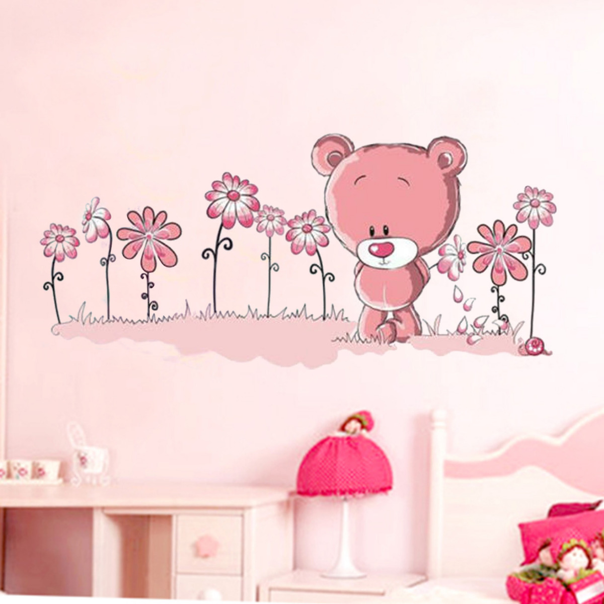 Fairy Girl Holding Flower Umbrella Removable Wall Sticker Decal Child Child Baby