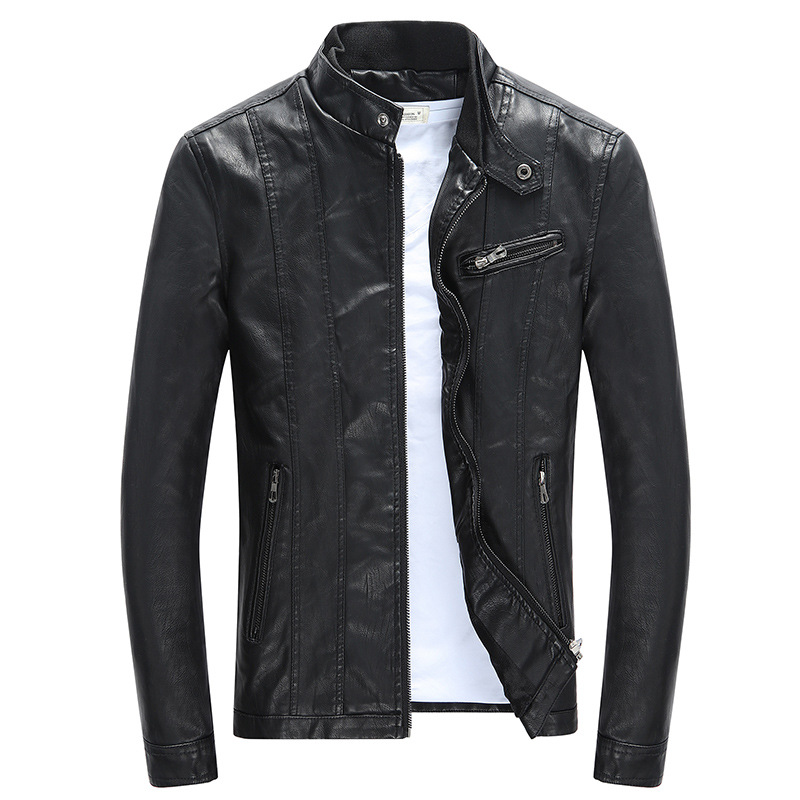 2019 Autumn New Fashion Vintage Veste Cuir Homme Slim Stand Collar Motorcycle Leather Jacket