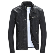 2019 Autumn New Fashion Vintage Veste Cuir Homme Slim Stand Collar Motorcycle Leather Jacke
