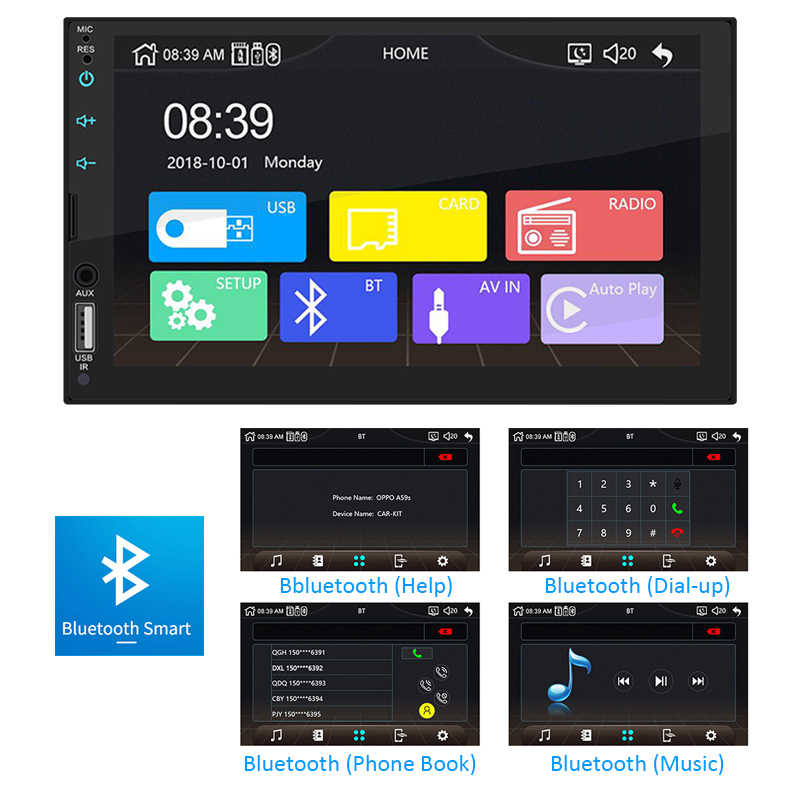 """2 dinアップルcarplayカーラジオのbluetooth androidの自動7 """"タッチスクリーンビデオMP5プレーヤーusb tf isoステレオシステムヘッドユニットphyee X2"""