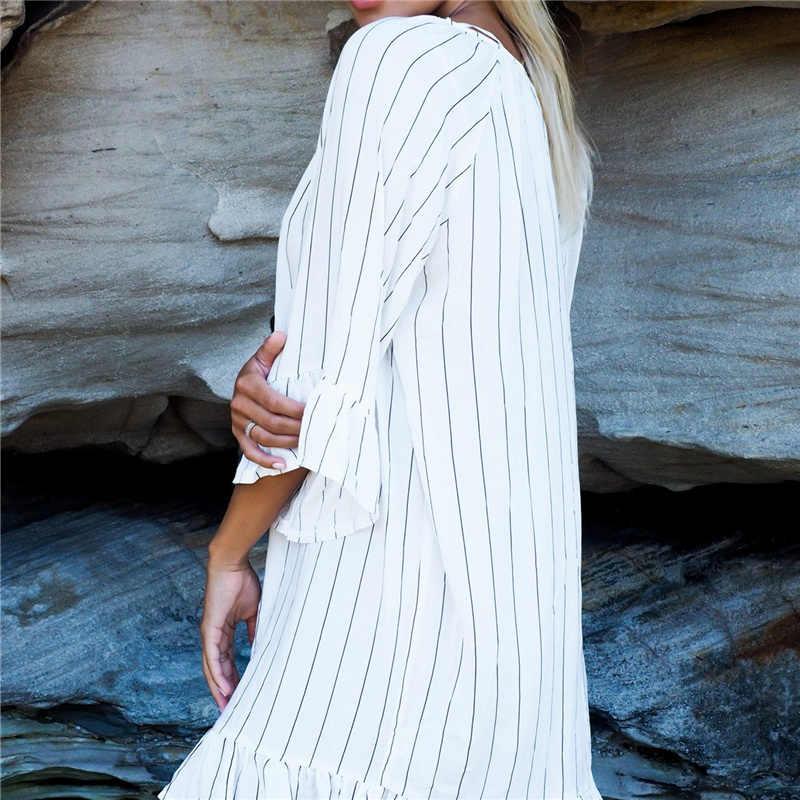 Túnicas para praia maiô capa ups kaftan praia túnica vestido listrado robe de plage biquíni cobrir pareo praia cobrir # q460