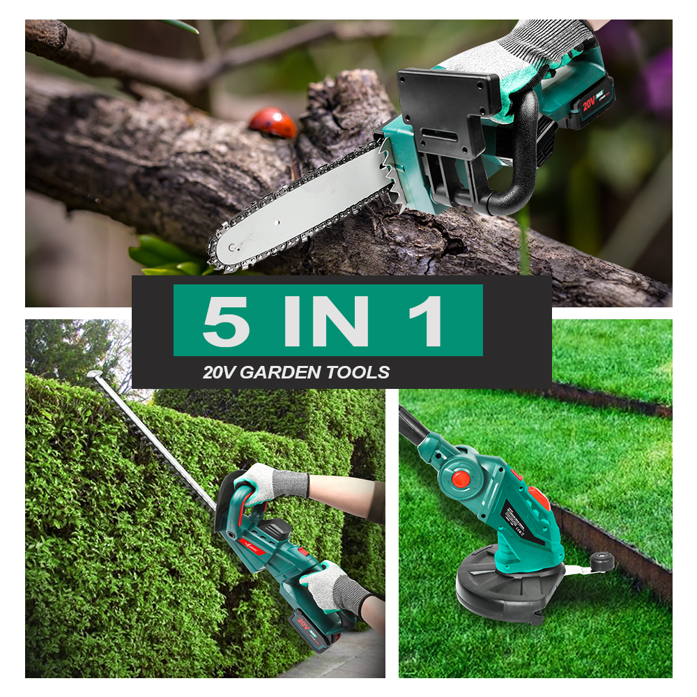 Clearance SaleLANNERET 5 IN 1 Hedge Trimme Chainsaw Grass Trimmer 20V with Telescopic Pole Cordless Chain Saw Garden trimmer Garden Tools Set