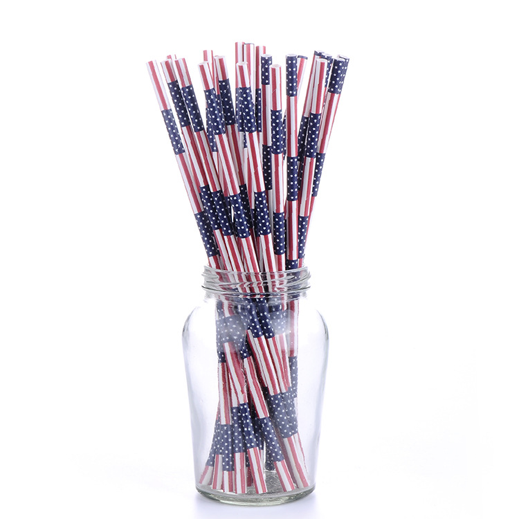 Manufacturers Customizable Colored Pattern Paper Straw Environmentally Friendly Kraftpaper Straw Wedding Party Bar Paper Straw
