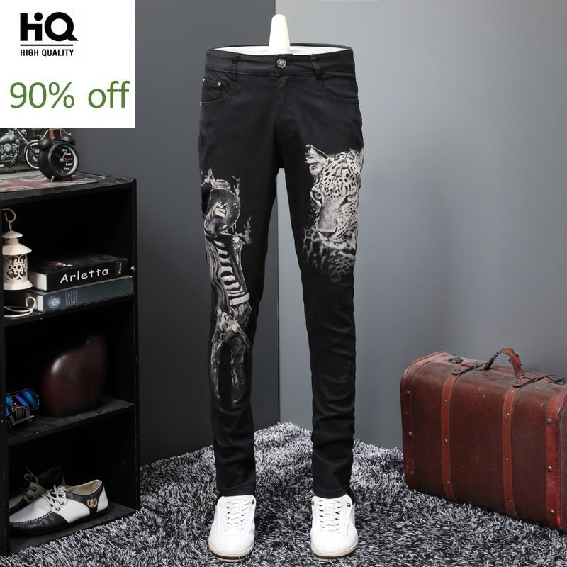 Fashion 2020 Black Printed Jeans Men Personalized Slim Fit Street Trousers Casual Elastic Straight Denim Pants Male Club Jeans