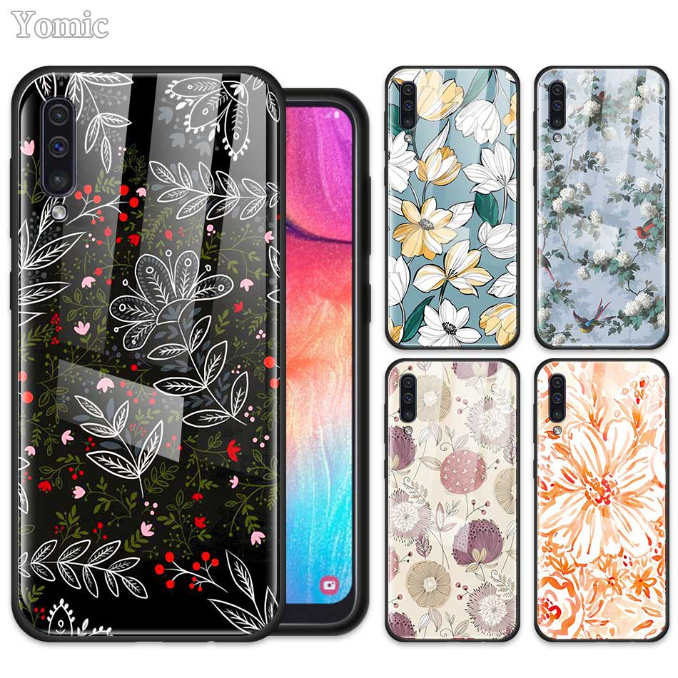 Bohemian Flowers Print <font><b>Case</b></font> for <font><b>Samsung</b></font> Galaxy A50 <font><b>A70</b></font> A81 A30 A20 A10 S A40 A51 A71 J4 J6 Plus M30s <font><b>Tempered</b></font> <font><b>Glass</b></font> Phone Cover image